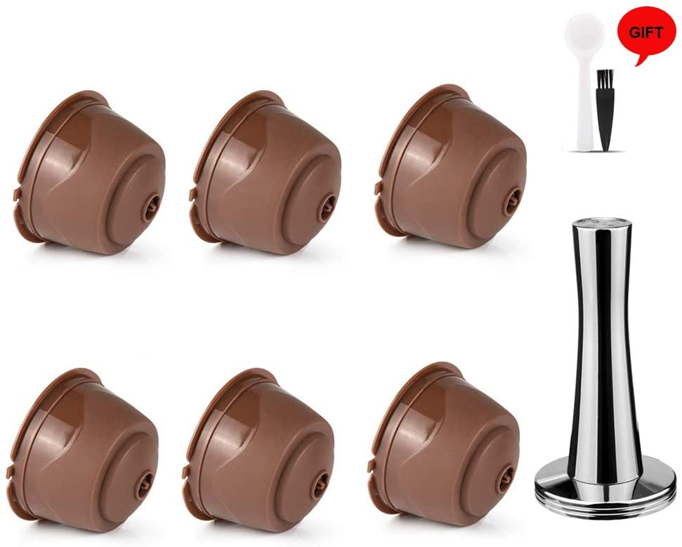 i Cafilas Dolce Gusto Refillable Capsules Reusable Coffee Pods for Nescafe Dolce Gusto Brewers (Regular version, Brown)