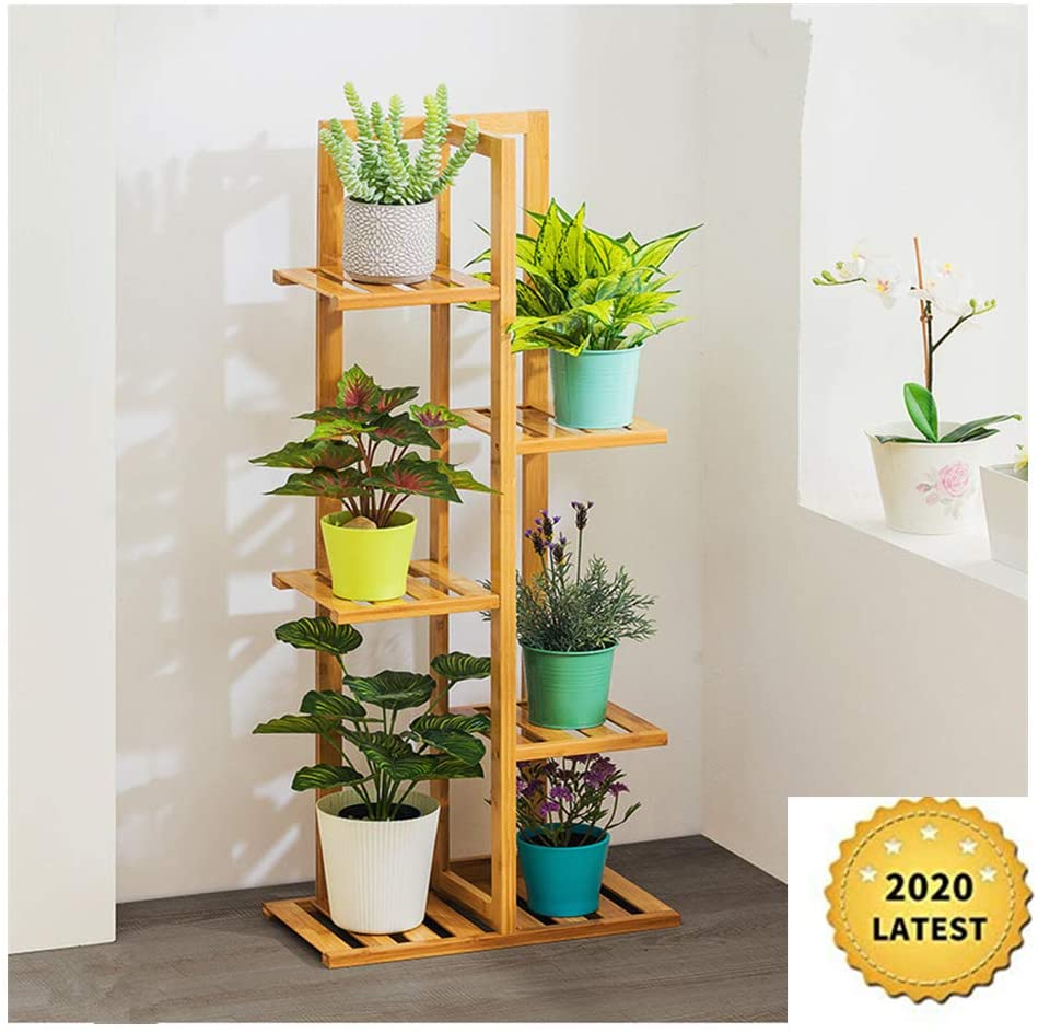 【US Shipping】Bamboo5 Tier 6 Potted Plant Stand Rack Multiple Flower Pot Holder Shelf Indoor Outdoor Planter Display Shelving Unit for Patio Garden Corner Balcony Living Room (As Shown)