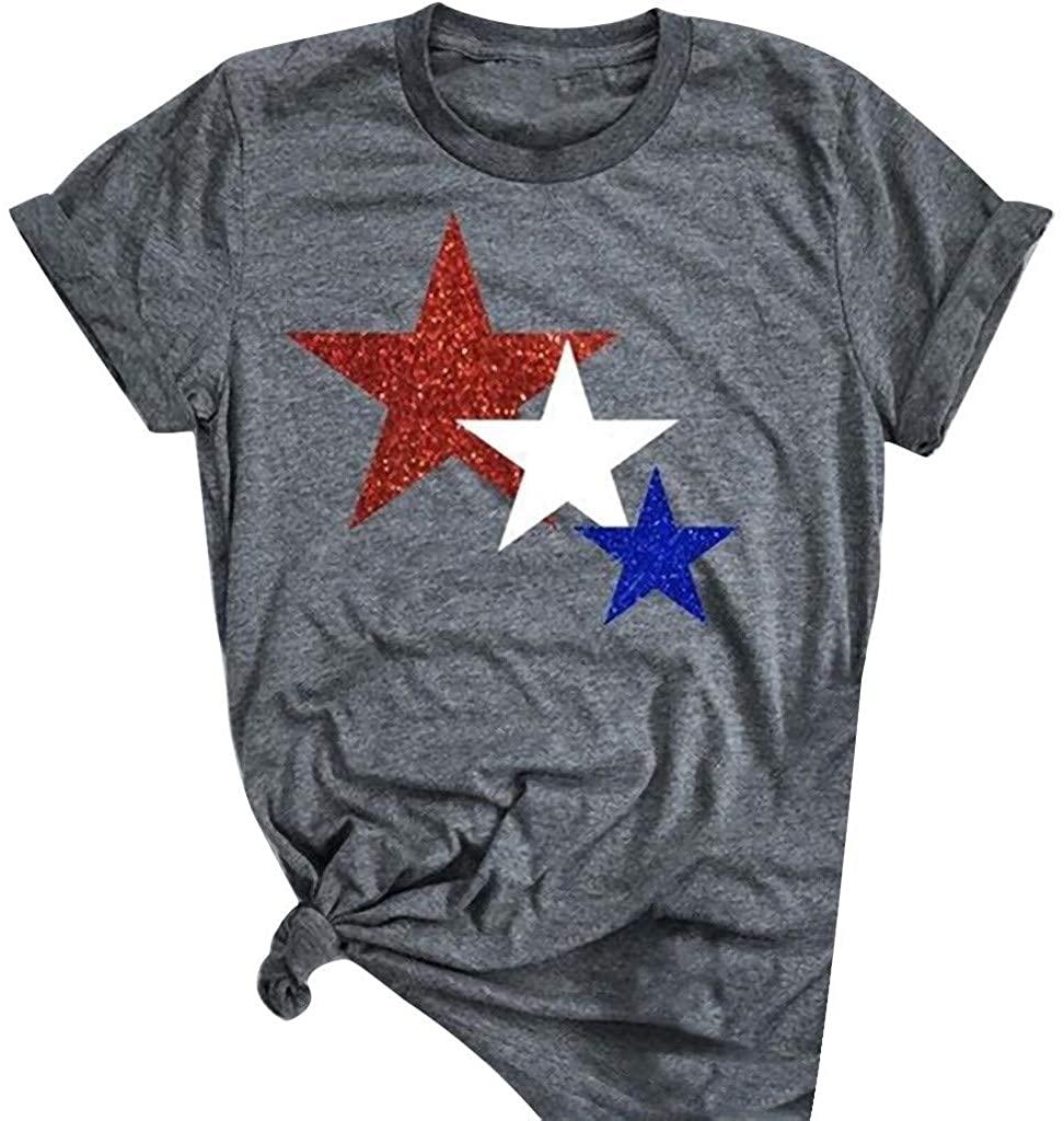Hattfart American Flag Off Shoulder Tops T-Shirt