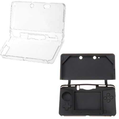 GTMax Crystal Hard Clear Case + Black Silicone Skin Rubber Soft Case for Nintendo 3DS