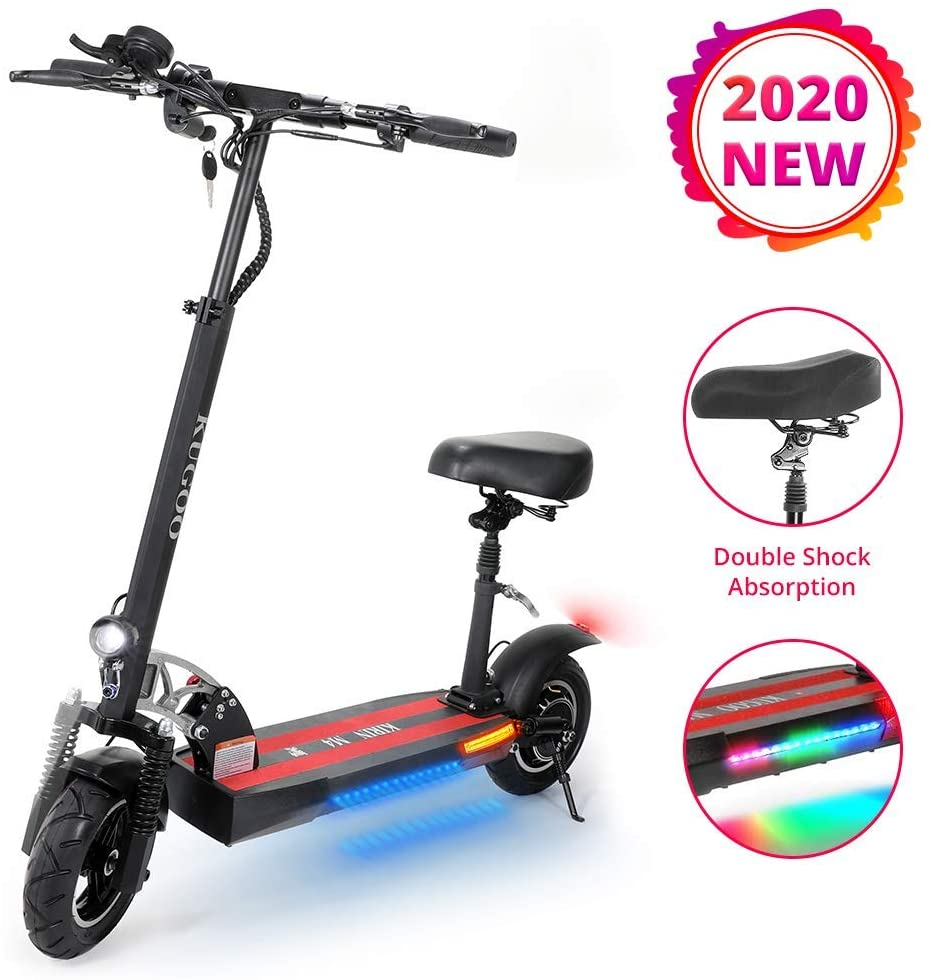 QX Scooter Electric Offroad Scooter with Seats, Key Lock with Horn 10'' Pneumatic Tires 500W Brushless Motor 3 Speed Mode Max Speed 43Km / H, Height Adjustabe Commuting Scooter