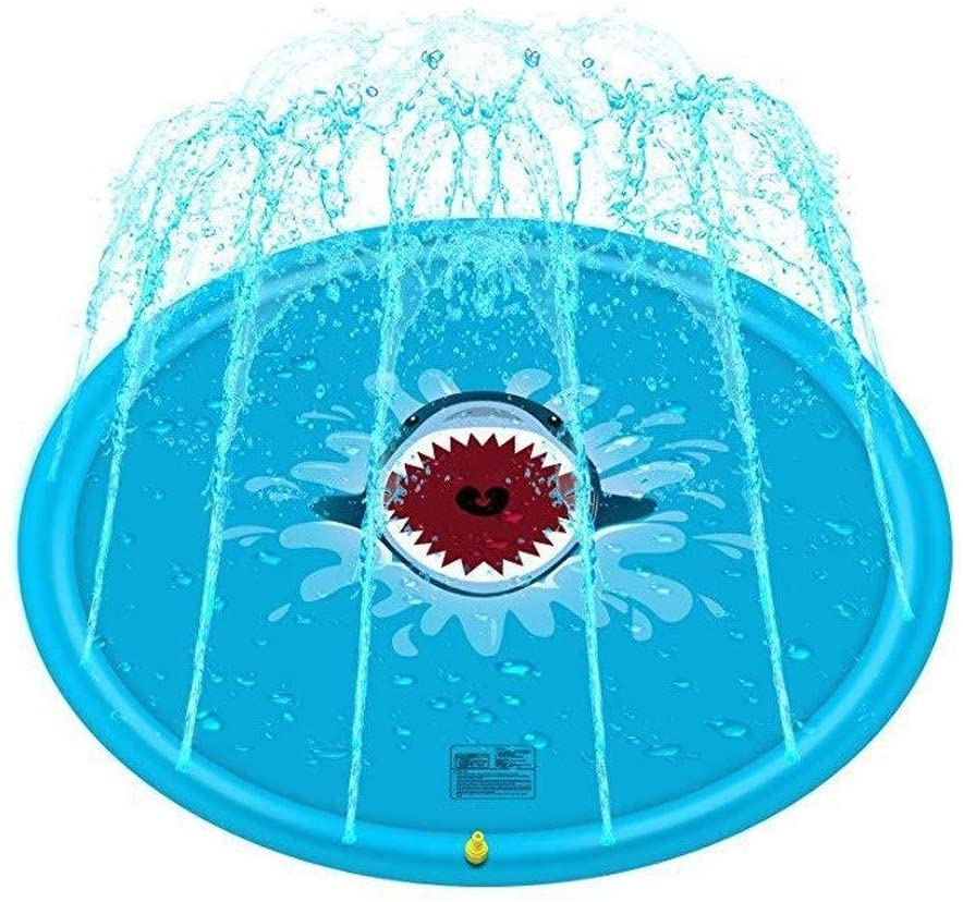 JHHXW Shark Sprinkle and Splash Play Mat, 170cm Childrens Water Spray Pad, for Cool Summer Gardens Backyards Party, Outdoor Spray Water Toys
