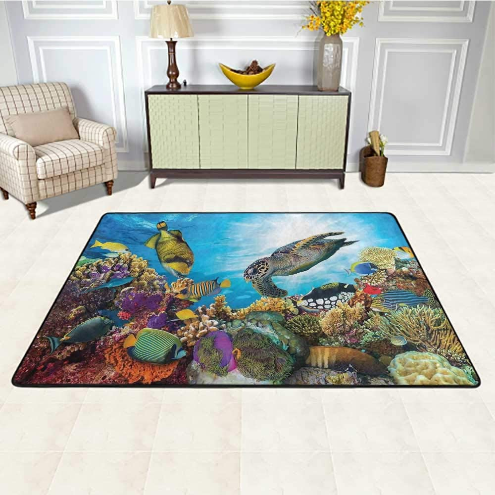 Ocean Indoor Outdoor Carpet 5' x 8', Colorful Fishes Hawksbill Floats Under Water Coral Reefs Aquatic Environment Theme Kids Carpet, Multicolor