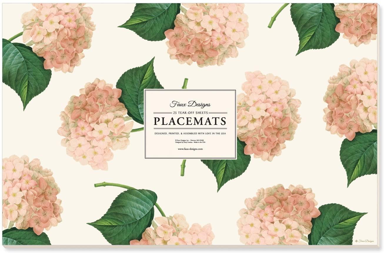 Faux Designs Pink Hydrangea 25 Count Designer Paper Placemats Easy Elegant Entertaining