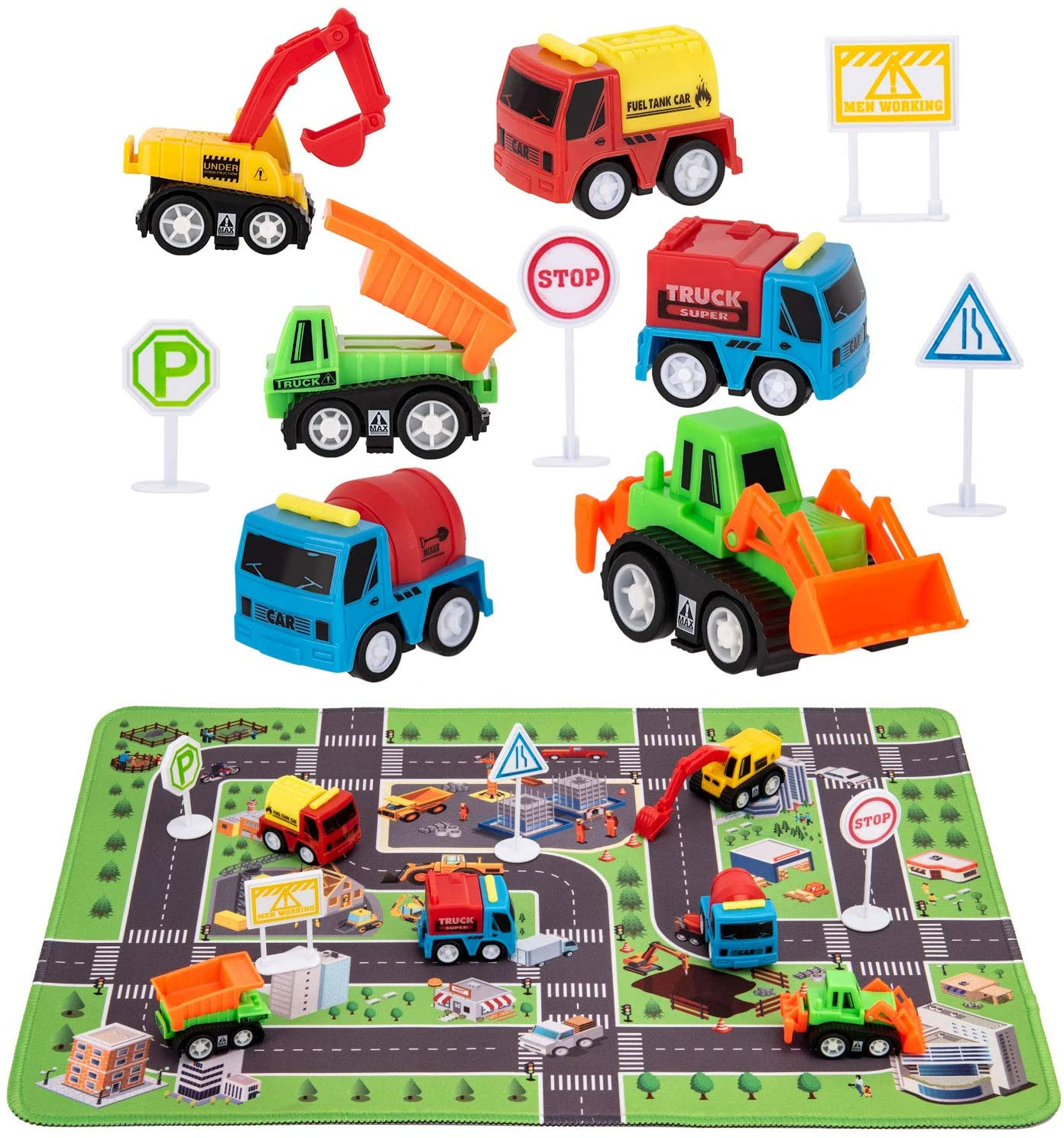 Kilpkonn Construction Toys with Play Mat, Engineering Vehicles Set Include 6 Construction Trucks, 4 Road Signs, 14