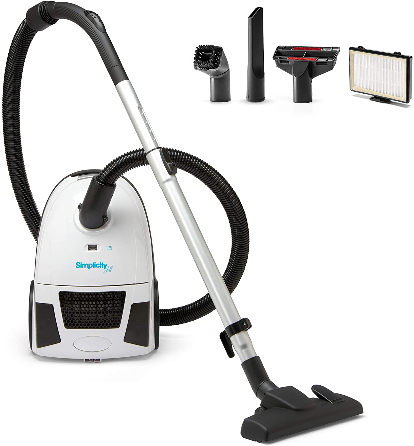 Canister Vacuum Cleaner   Simplicity Jill Compact Vacuum for Hardwood and Rugs   Dual Certified Hepa Filtration   Bagged