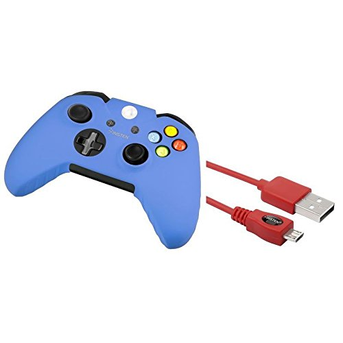 Red 10FT Micro USB Data Cable Charger+Blue Skin Case for Microsoft xBox One