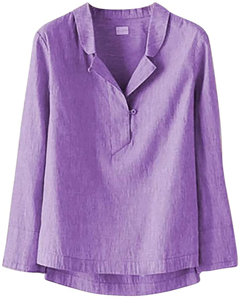 Thyone Women's Casual Solid Buttons Stand Collar Long Sleeves Shirt Blouse Tops