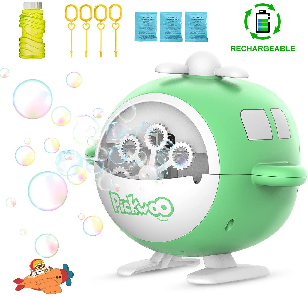 Pickwoo Bubble Machine, Automatic Bubble Maker Rechargeable Bubble Blower Machine 1000 Bubbles per Minute for Kid Toddlers Outdoor Indoor with 3 Bubbles Solutions,High Output for Parties Birthdays