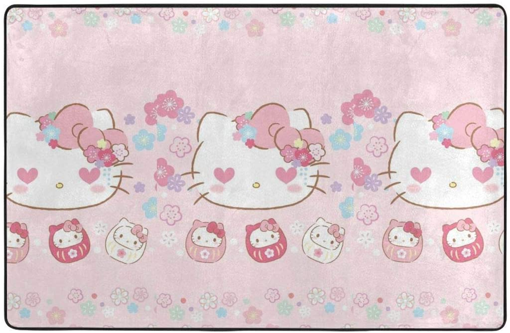 Large Soft Flannel Area Rug Anti- Skid Love Hello Kitty Carpet Bedroom Kids Room Mat Home Decor- 60 X 39 in