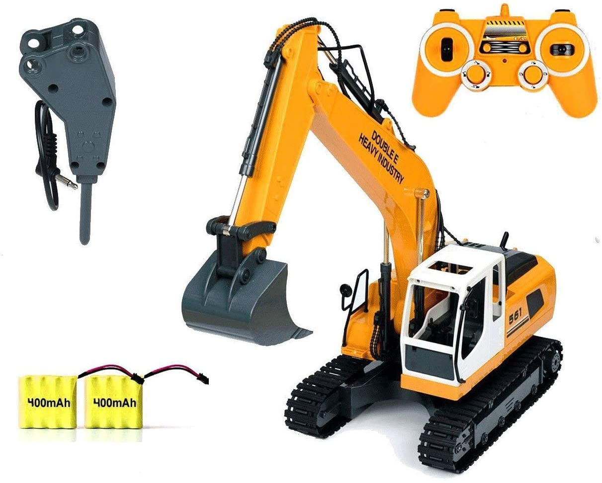 DOUBLE E RC 17 Channel Deluxe Excavator Construction Vehicle Tractor Truck Toy with Extra Breaker