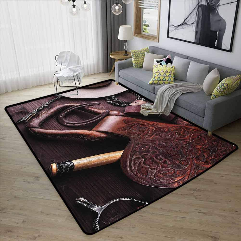 Western Decor Carpet, Upgraded Luxurious,Comfort Underfoot Rubber Non Slip for Kids Nursery Clothes and Accessories for Horse Riding with Kitsch Details Rural Sports Themed, W15 x L23 Brown