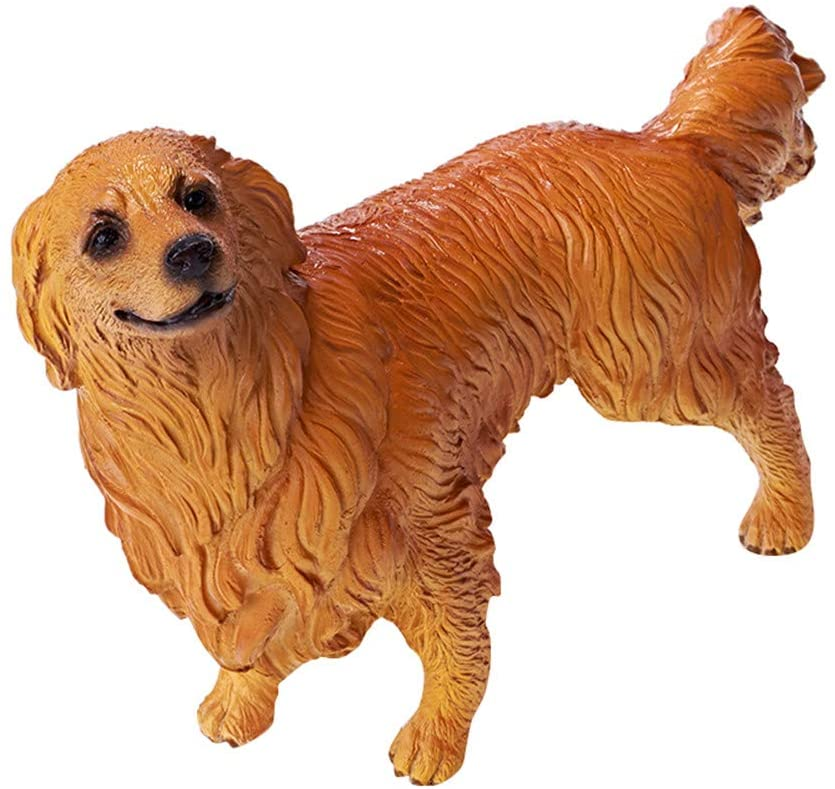 RECUR Golden Retriever Toy Figure Statue for Dog Lovers, Realistic Puppy Model 7.5'' Dog Figurines toys - Decorative Home Décor, Ideal Gift Collectible for Collectors Kids Toys