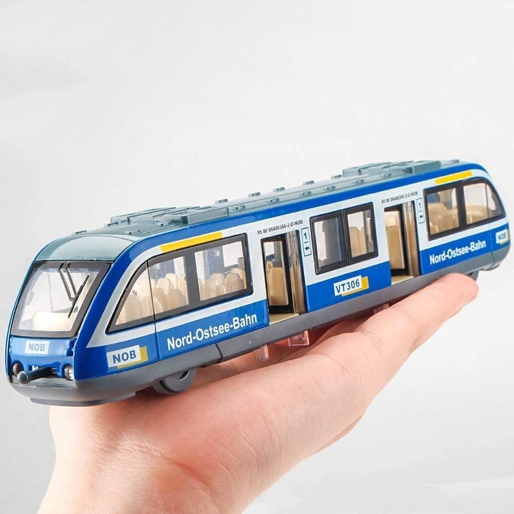 Zeyujie Alloy Subway Toy Model Train Simulation Light Rail car Harmony Fuxing No. Boys Children's Toy car Track Train can Open The Door City Rail Train ( Color : Blue )