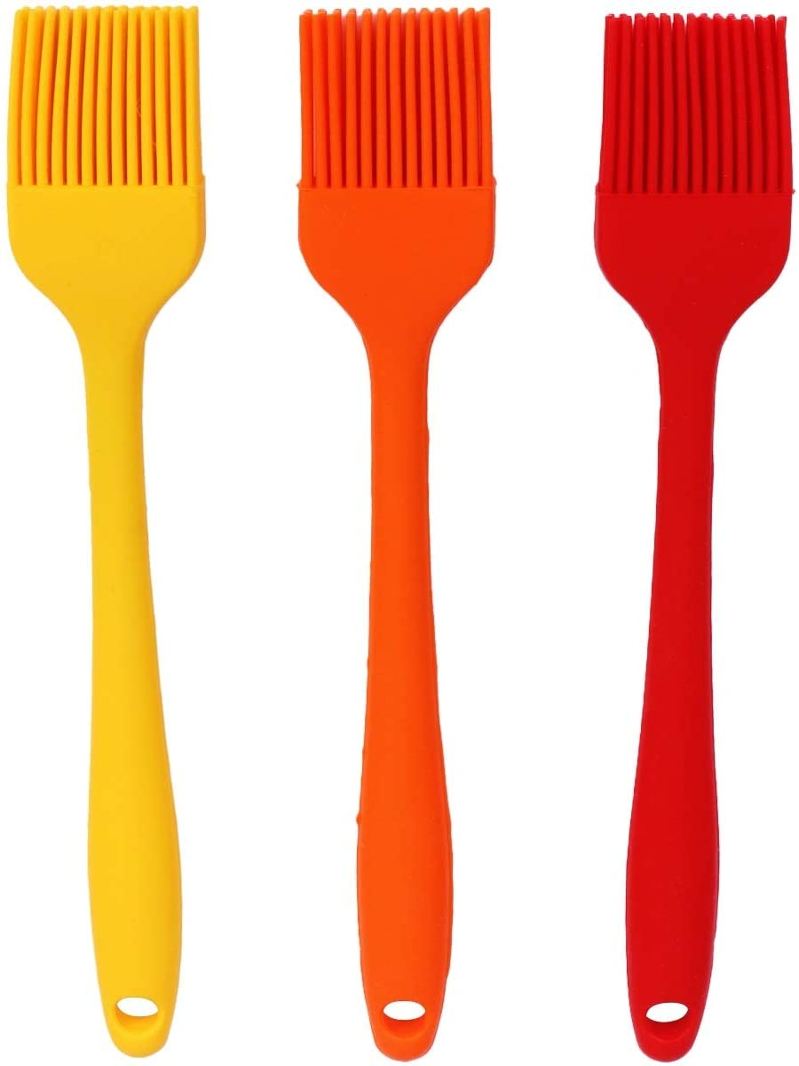 3pcs/Pack Heat Resistant Silicone Brush Oil Sauce Cream Brush for Barbecue BBQ Meat Cakes Pastries (Random Color)