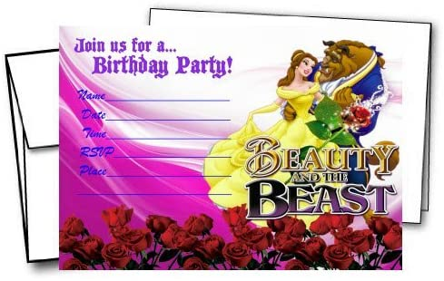 Crafting Mania LLC. 12 Beauty and The Beast Birthday Invitation Cards (12 White Envelops Included) #1