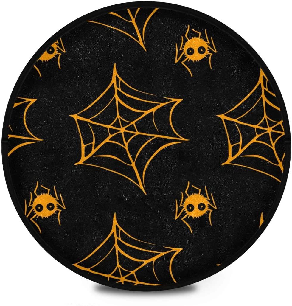 Halloween Shaggy Round Mat Halloween Spider Cobweb Round Rug for Kids Playroom Anti-Slip Rug Room Carpets Play Mat