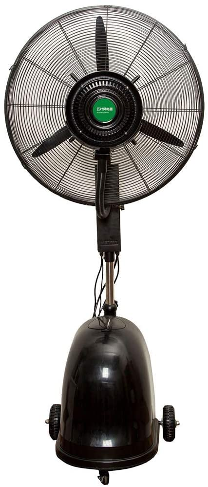 KMMK Home Electric Fan,Pedestal Fans Mobile Misting Spray Fan with Pulley/Water Tank Oscillating Cooling Floor Humidifier Industrial Vertical High Power Atomization Stand Electric Fan-Black-260W (65C