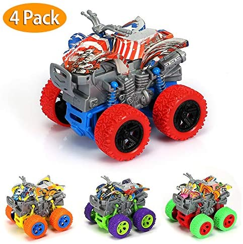 4-Pack Monster Trucks Toys Set for Boys/Girls-Friction Powered Mini Push and Go Motorcycle Toys for Kids Playset-Pull Back Car Toys for Toddler Aged 3+ Years Birthday Gifts(Red/Orange/Green/Purple)
