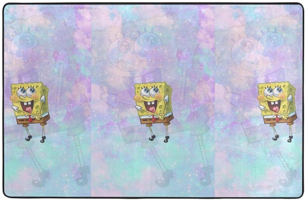 Large Soft Flannel Area Rug Anti- Skid Cute Spongebob Carpet Bedroom Kids Room Mat Home Decor- 60 X 39 in