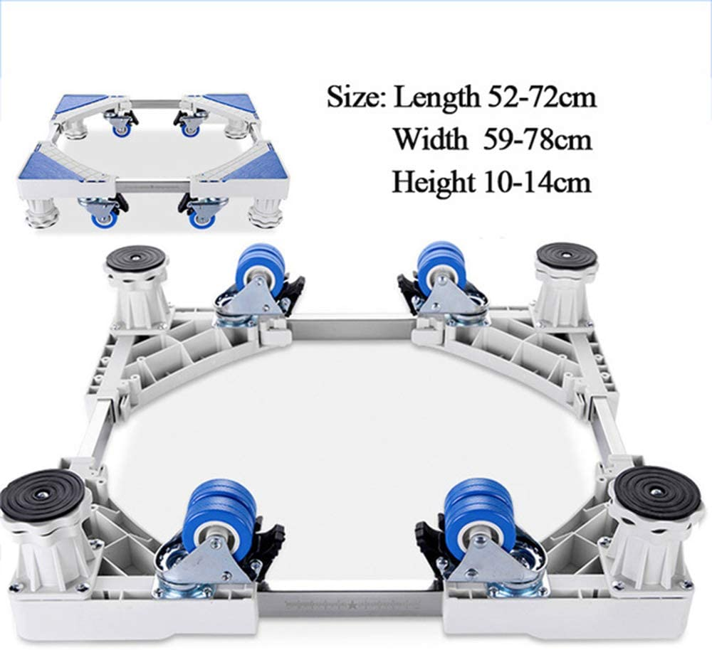 Movable Refrigerator Floor Trolley Fridge Stand Washing Machine Holder 4 Strong Feet Mobile Stand with Brake Wheel 500Kg,White