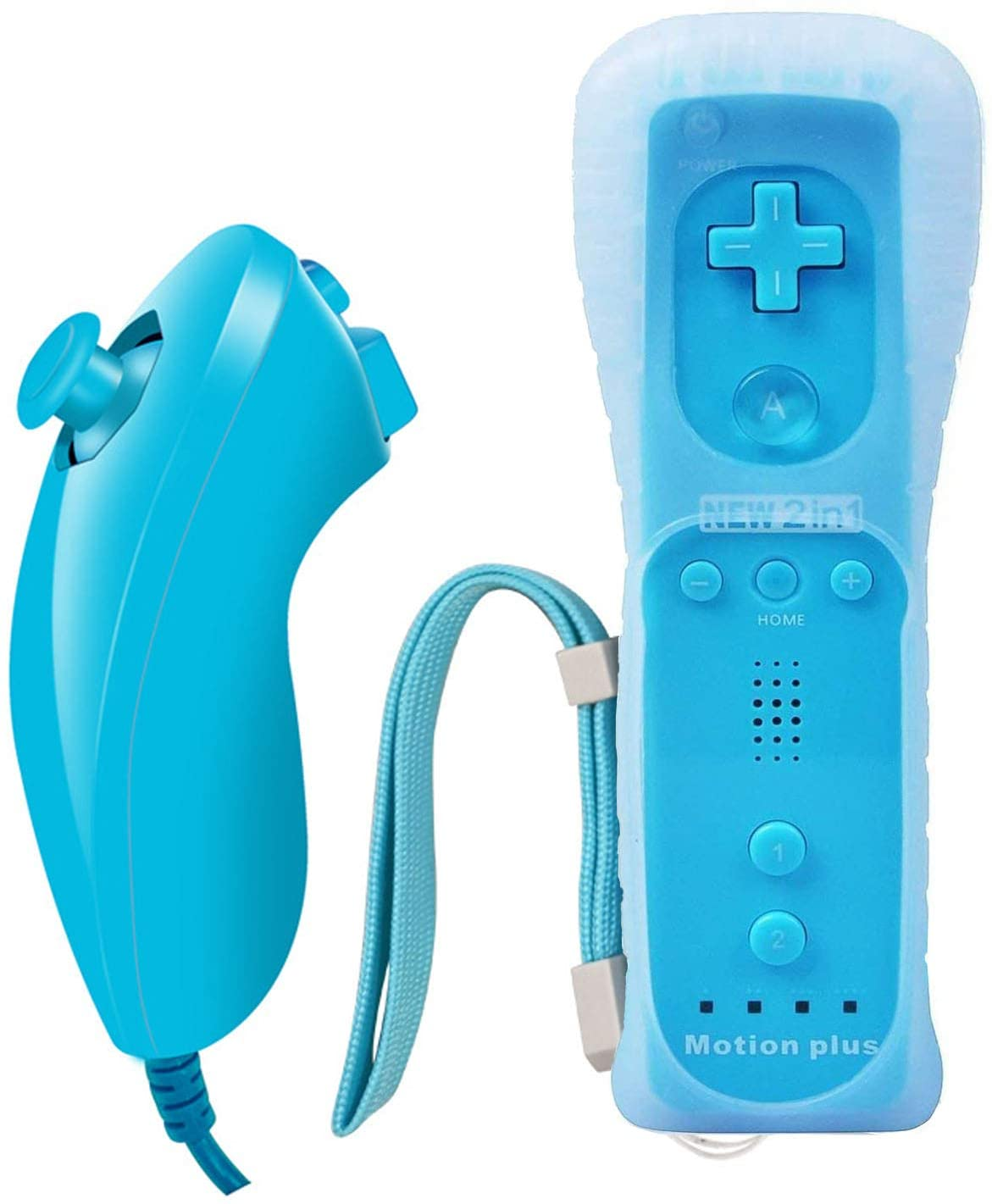 Wii Nunchuck Controller Motion Plus,Built-in 2 in 1 Remote Motion Nunchuck Controller,Replacement Remote Game Controller with Silicone Case and Wrist Strap for Nintendo Wii and Wii U (Blue)