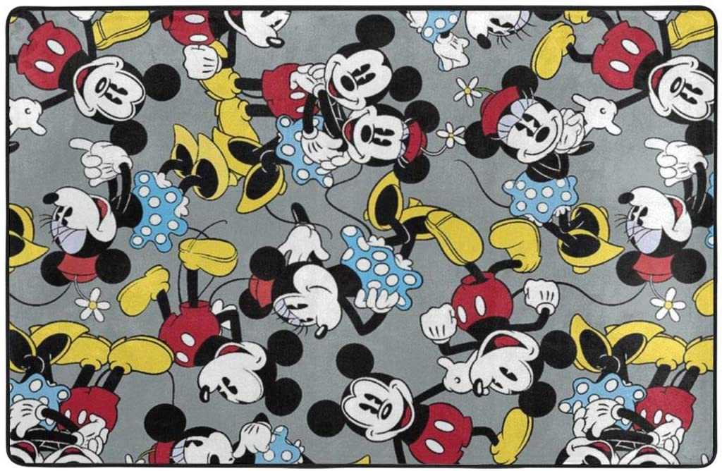 Large Soft Flannel Area Rug Anti- Skid Mickey and Minnie Carpet Bedroom Kids Room Mat Home Decor- 60 X 39 in