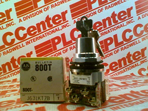 ALLEN BRADLEY 800T-J631KT7B No Guards, 3-Position, Metal, Selector Switch, Standard - 2 NO 2 NC, D Series Key No. D018 (Standard Key), KT7 Cam, Non-Illuminated, Key Removal - Center, Type 4/13, 30.5 m