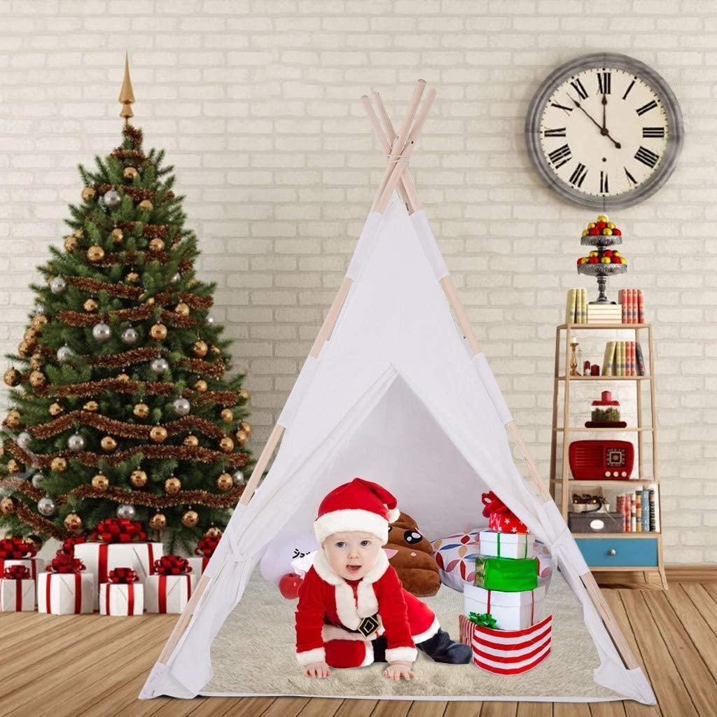 Kids Teepee Tent, Classic Indian Play Tent for Child, Foldable Playhouse for Indoor or Outdoor Play, Cotton Canvas Children Tents for Girl and Boy [Ship from USA Directly]