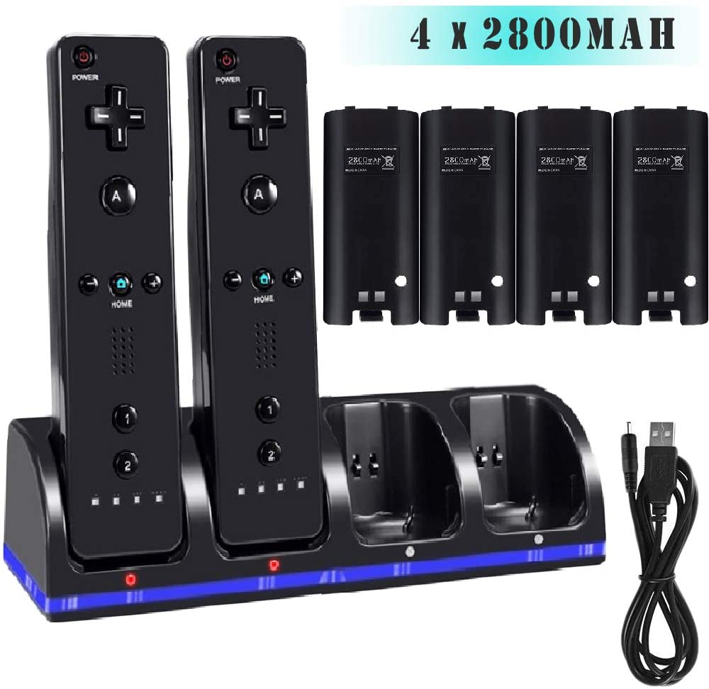 4 Port Charging Dock for WII Remote Controller, Wii Charger Station with 4 Pcs 2800mAh Rechargeable Batteries-Black