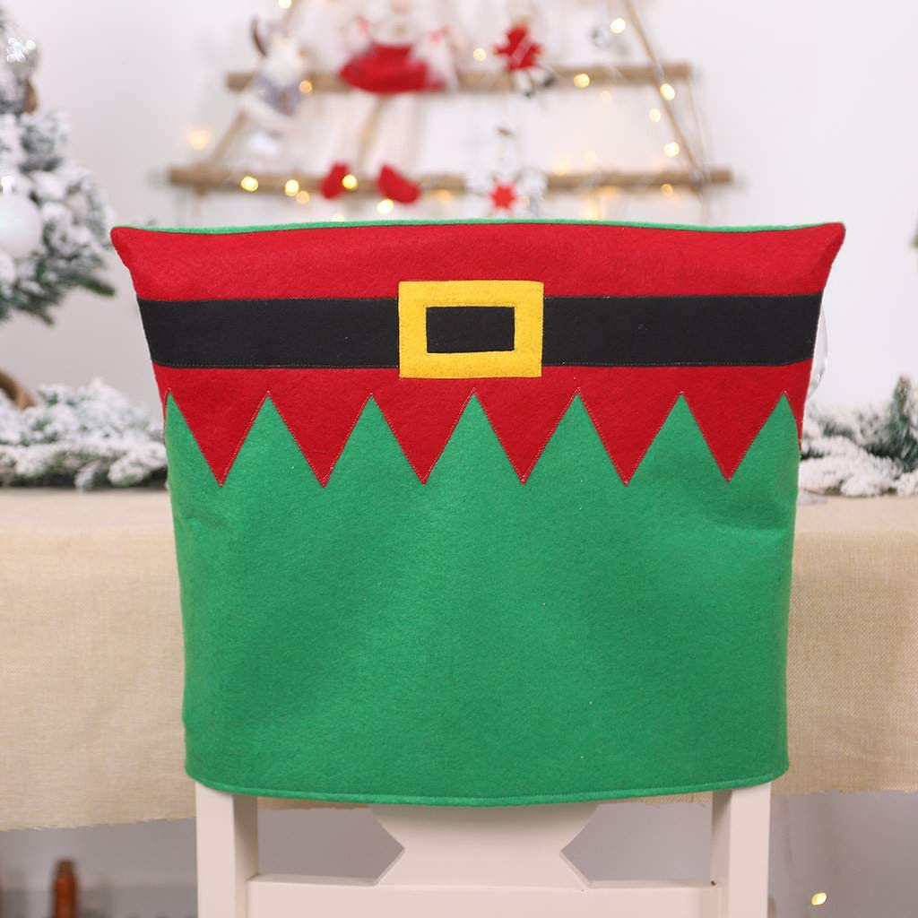 Juesi Christmas Chair Cover Placemat, Xmas Seat Slipcovers/Placemat for Kitchen Dining Room Restaurant Holiday Festive Decor, 1 Pcs,Green Chair Cover