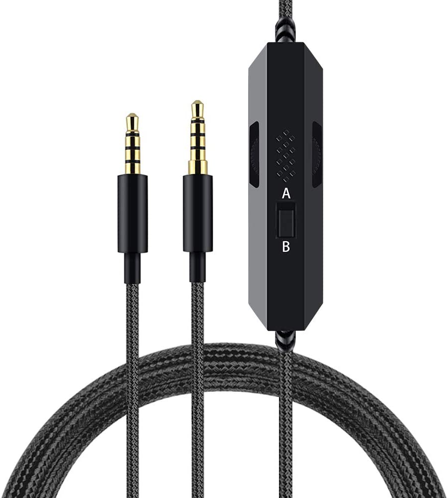 G633 Cable G933 Cable Replacement Audio Cable Compatible with Logitech G633 G933 Gaming Headset, Aux Cable Cord for Xbox One Play Station PS4, with Inline Mute Volume Control and Microphone (1.5m)