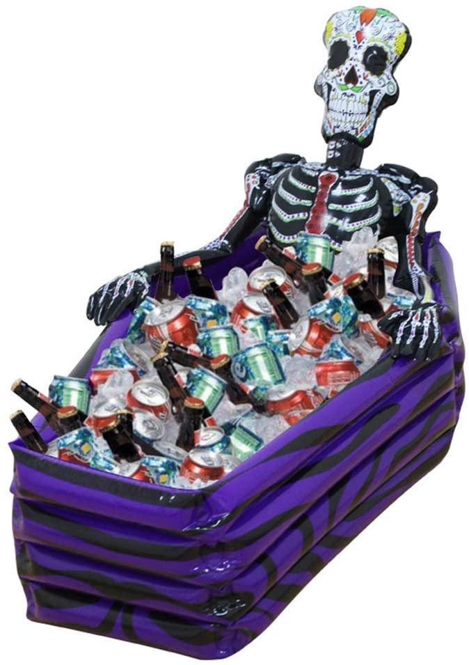 YiCan Inflatable Treasure Chest Beverage Ice Bucket Pool, Summer Pool Beach Seaside Inflatable Coffin Ice Bucket Halloween Bar Supplies, 26 30 102cm