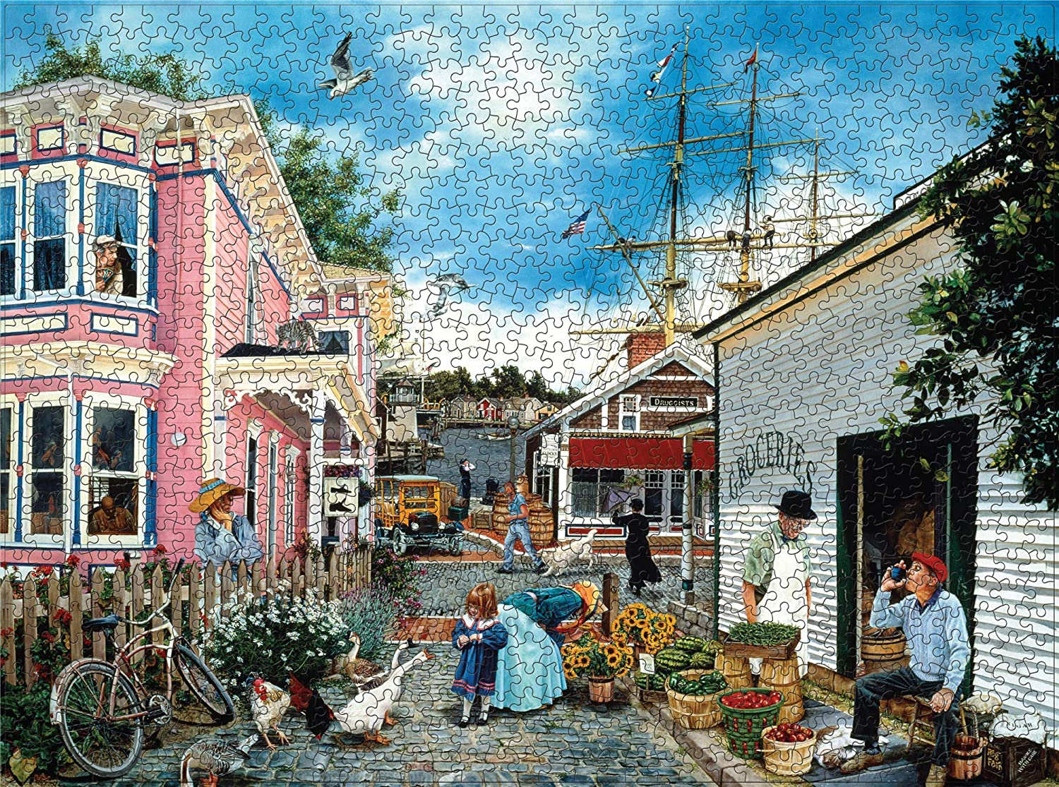 1000 Piece Puzzles - Jigsaw Puzzles 1000 Pieces for Adults - 27.16 x 20.08 inches - The Best Way to Preserve Your Finished Puzzle!(Wharf Town)