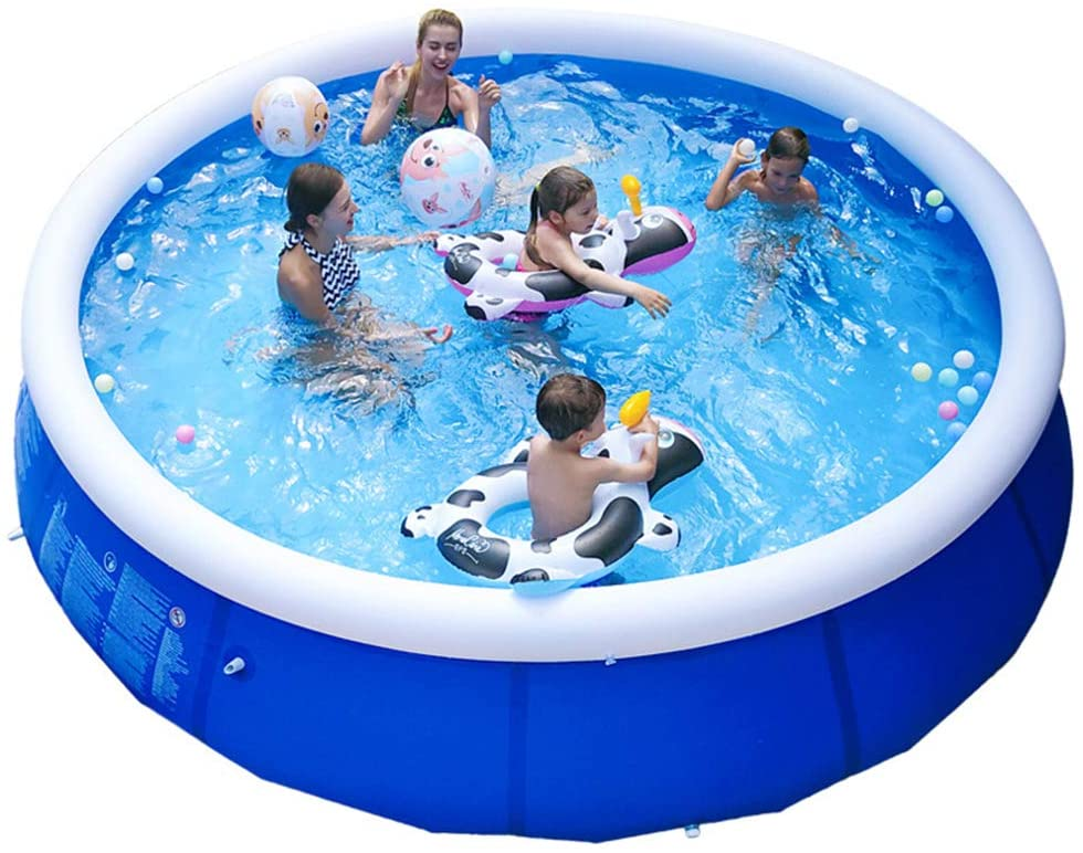 ZPEE PVC Round Inflatable Pool,Summer Water Party Blow Up Pool,Extra Large Play Set Paddling Pools,Parent Child Water Pool with Pump Blue 300x76cm