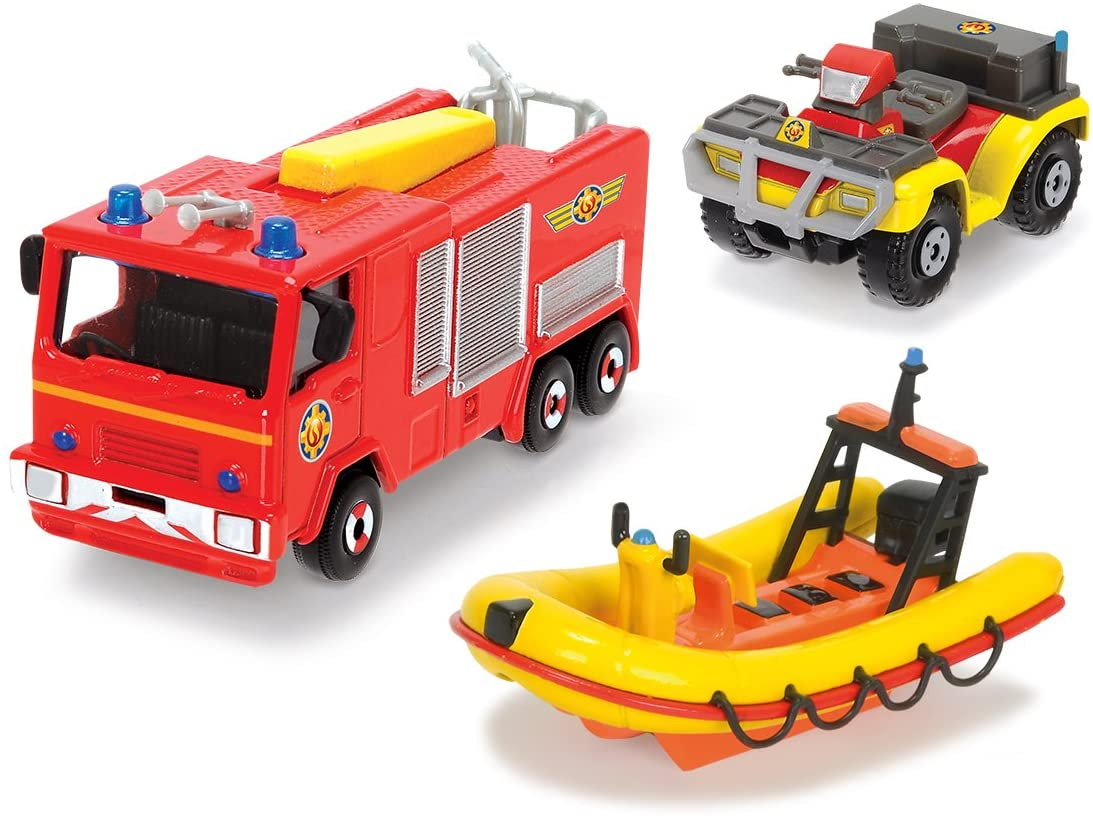 DICKIE TOYS 203099629401–Fireman Sam 3-Part Vehicle Set