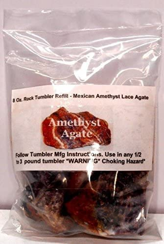 Rock Tumbler Gem Refill Kit Mexican Amethyst Lace Agate Rough 8 oz by Mexico Nature