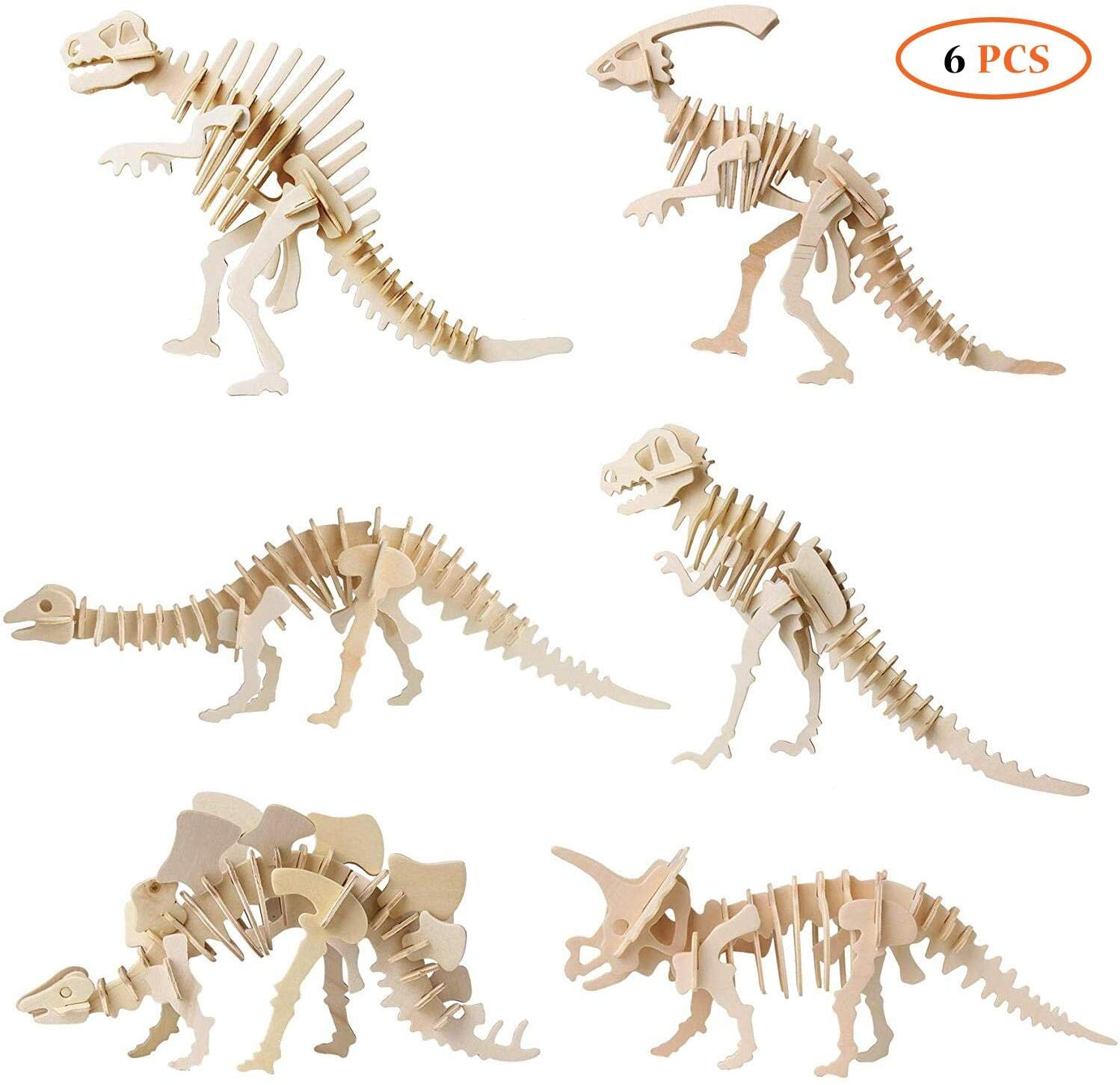 3D Wooden Dinosaur Puzzle with DIY Models Set Puzzle Gift Brain Teaser Toy for Kids Adult-6pcs