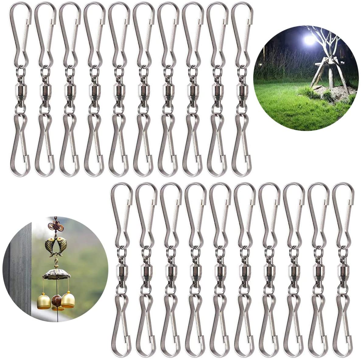 Lainrrew 20 Pcs Swivel Hooks Clips, Durable Spinning Dual Clip for Hanging Wind Spinners Wind Chimes Bird Feeder Party Supply