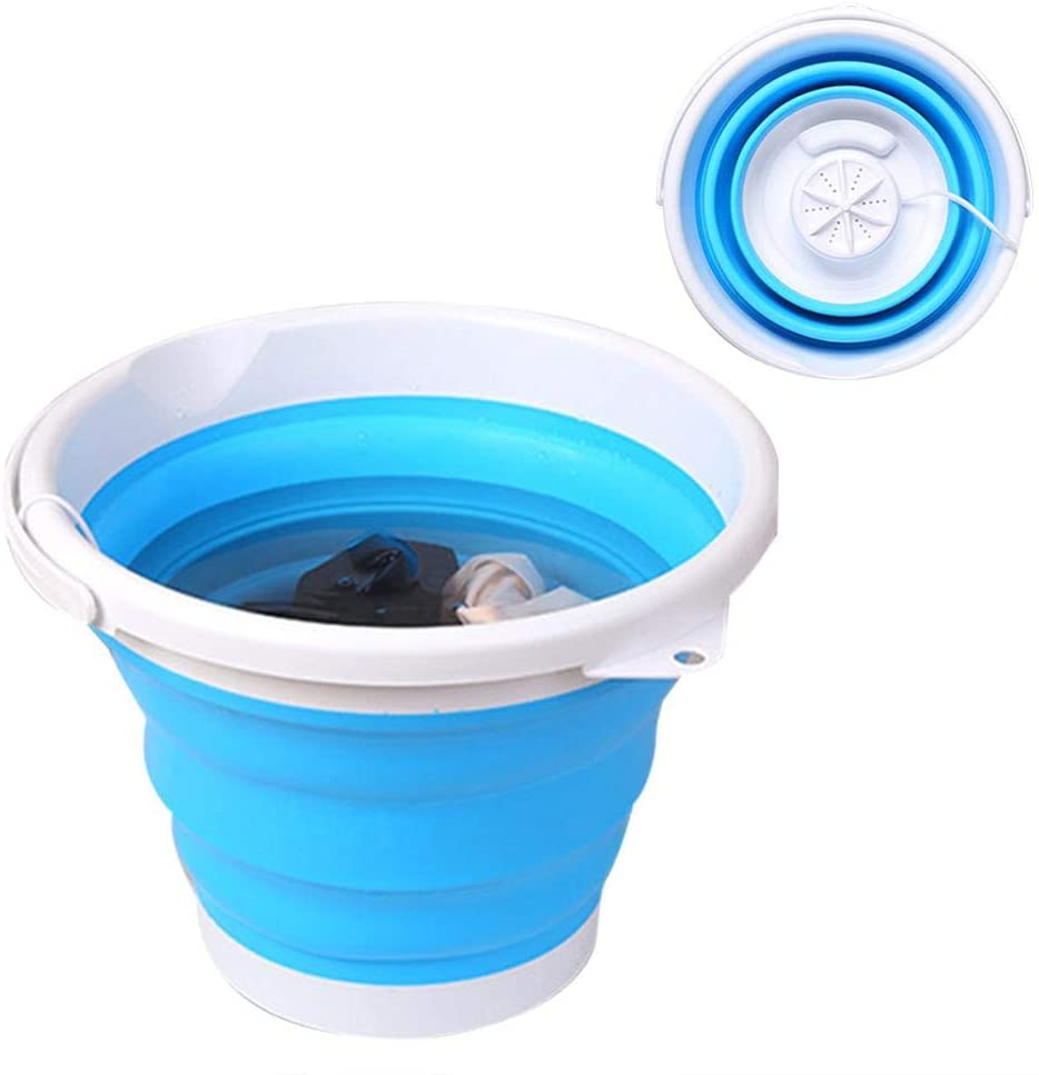 Rivetino 3-in-1 Portable Mini Turbo Washing Machine Enhanced Portable Folding Bucket Washing Machine with Foldable Tub USB Powered Compact, UltrasonicLightweight Travel Washer Machine