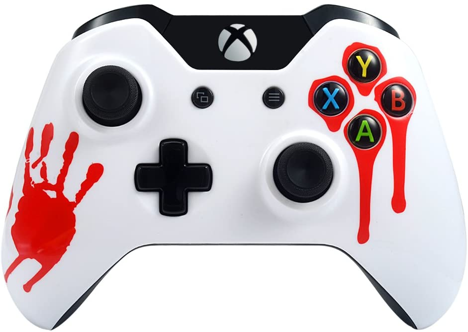 eXtremeRate Front Housing Shell Faceplate for Xbox One Standard Controller - Red Blood Palm