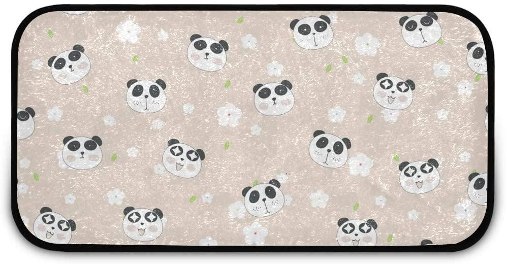 Rectangle Shaggy Rug Kitchen Mat for Kids Cute Panda Indoor Anti-Slip Rug Rectangle Carpet Play Mat