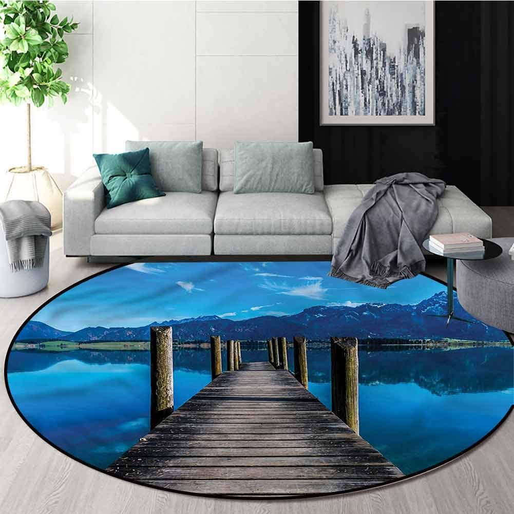 RUGSMAT Seascape Anti-Skid Area Rug,Wooden Pier Serene Lake Door Mat Indoors Bathroom Mats Non Slip Round-24