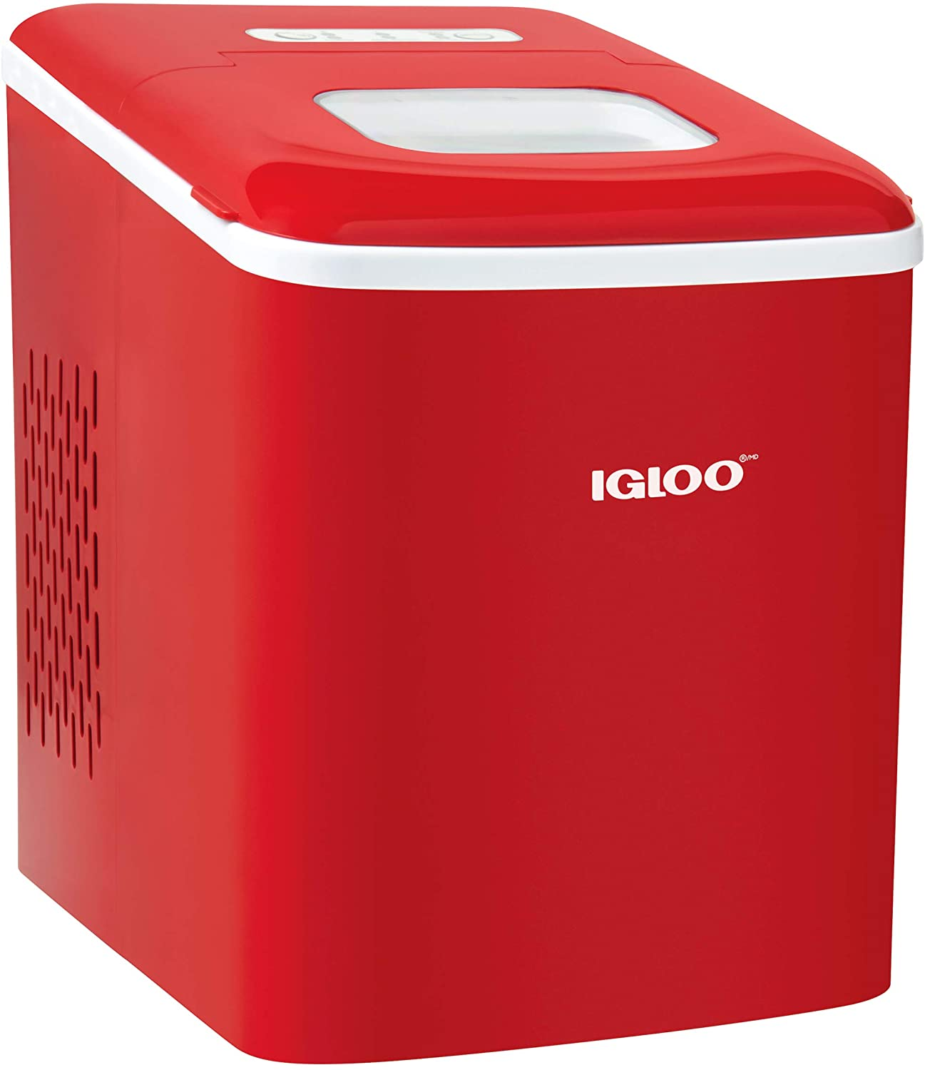 Igloo ICEBNH26RD Automatic Self-Cleaning Portable Electric Countertop Ice Maker Machine, 26 Pounds in 24 Hours, 9 Cubes Ready in 7 minutes, With Scoop and Basket