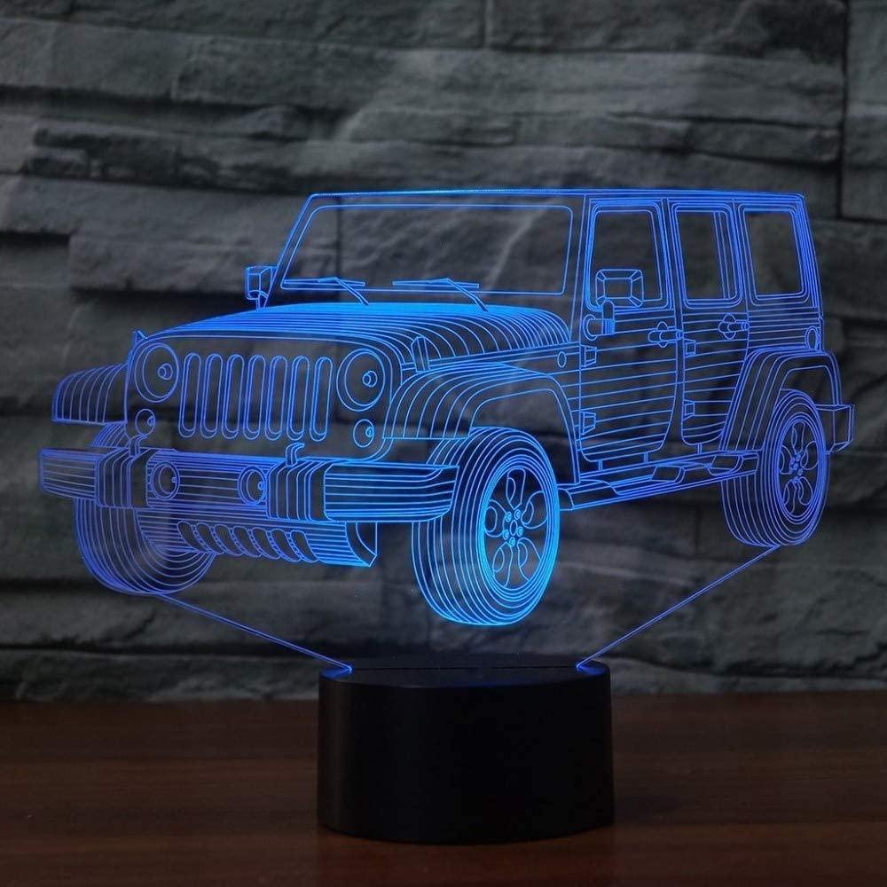 yrxh Creative 3D Led Colorful Gradients USB Night Lights Mood Jeep Car Shaped Desk Lamp Bedside Sleep Lighting USB Bedroom Decor Gift