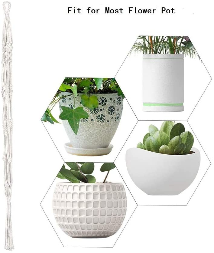 Barcley 2 Pack Macrame Plant Hangers, Indoor Hand Knotted Hanging Planter Basket Decorative Flower Pot Holder Cotton Rope for Indoor Outdoor Home Decor 4 Legs