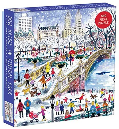 Galison 500 Piece Michael Storrings Bow Bridge in Central Park Jigsaw Puzzle for Adults and Families, New York City Puzzle with Central Park Scenery