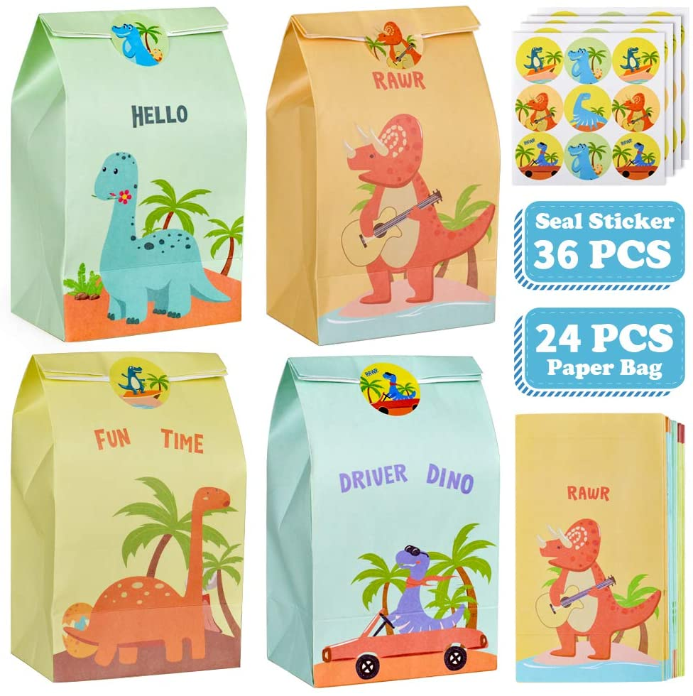 24 Pcs Kraft Paper Birthday/Holiday Party Favors Gift Bags for Toddlers Kids - Best Gifts Supplies