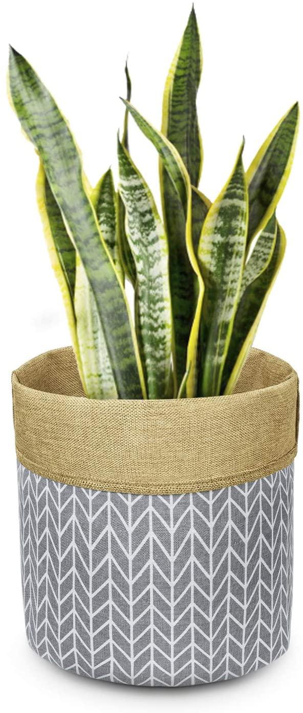 TIMEYARD Plant Basket Indoor Planter Up to 10 Inch Flower Pot Cover Floor Plants, Canvas Storage Bin Cotton Basket Organizer Modern Home Decor, Grey Arrow