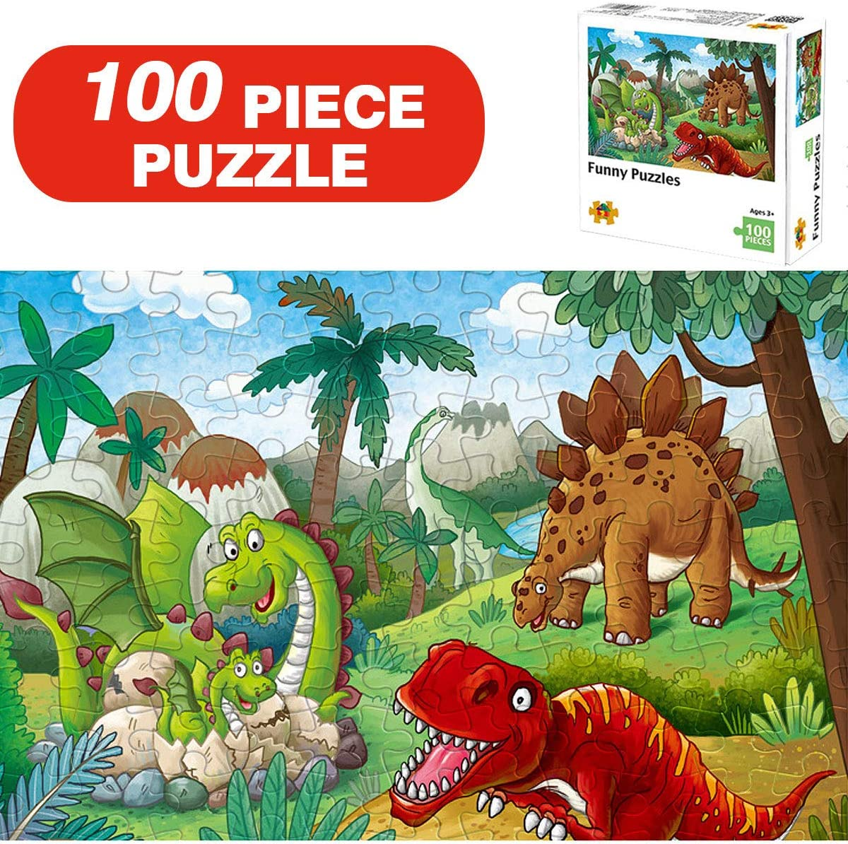 Jigsaw Puzzles for Kids Age 4-8 Year Old - Wooden Dinosaur Toddler Puzzles Preschool Educational Toy Games for Children,Boys and Girls (100 Piece Puzzle)
